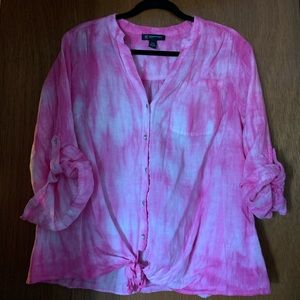 INC 14w pink tie-dyed button down shirt